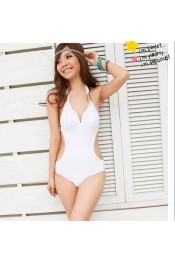Korean Sexy Backless Drawstring Swimwear White SW11051006-1