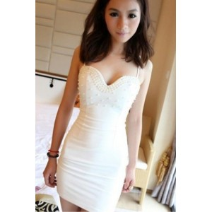 Korean Fashion Sexy Diamond Gallus Dress White WH11090401-1