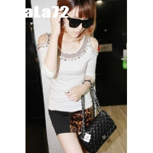 Fashionable Coins Embellished Off Shoulder Tunic T-shirt White WH YJ11090714-1
