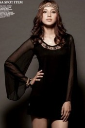Graceful Round Collar Flare Gauze Sleeves Quilted T-shirt Black  YJ11090604