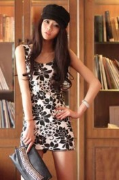 Korean style women Summer fashion Flower black dress IB DR204