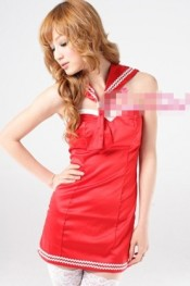 Backless Neckwear College Cosplay Dress Red WH MZ11041912-1