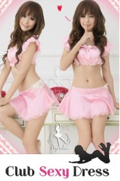 Elegant Lace Hollow out Tops Lotus Skirts with Brief Pink WH  XZ11083014