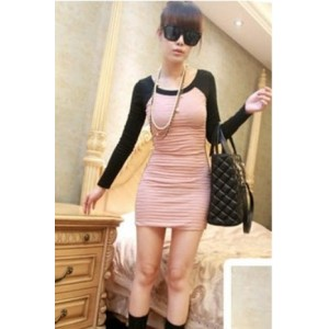 Stylish Long Sleeve Pleated Slim Dress Pink WH ZX11091811
