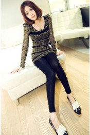 Luxury Golden Flowers Puff Sleeve T-shirt Black WH GZ11092015
