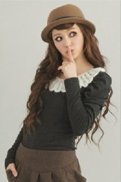 Korea Crocheting Collar Embellished Puff Sleeves T-Shirt Black  WH LY11092002-3