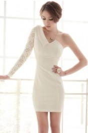 Individual One Lace Sleeve Lapel Dress Beige  WH LP11092407