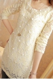 All Match Pearls Embellished Long Sleeve Dress Apricot WH DY11092505-1